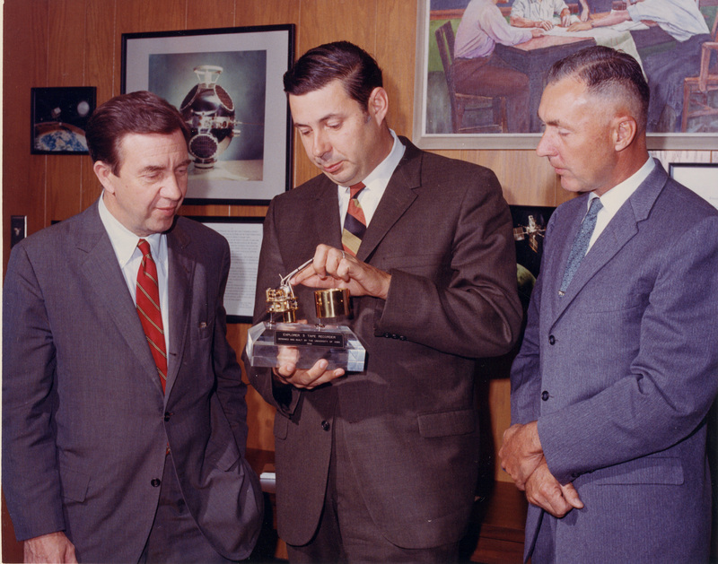 James Van Allen, George Ludwig and Ed Freund pose with Explorer III tape recording device