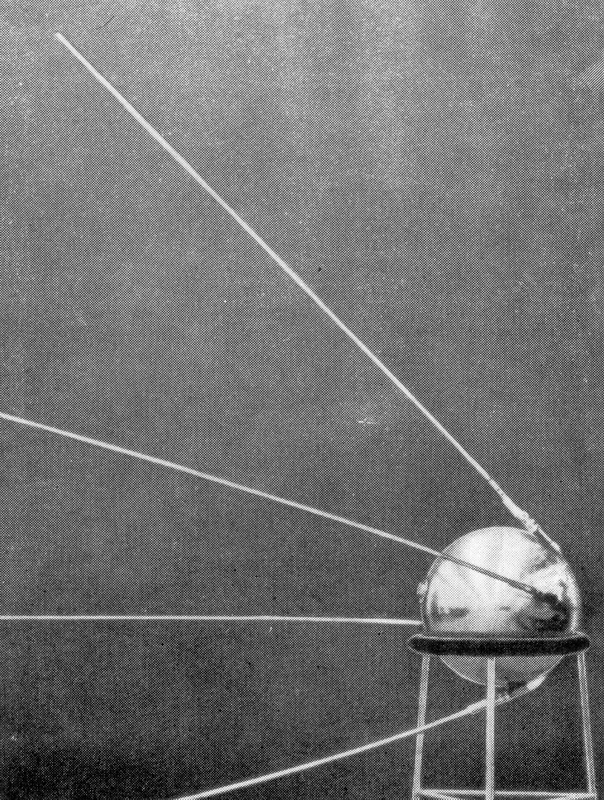 Image of Sputnik's compendum which looks like a silver ball with 4 long antennae