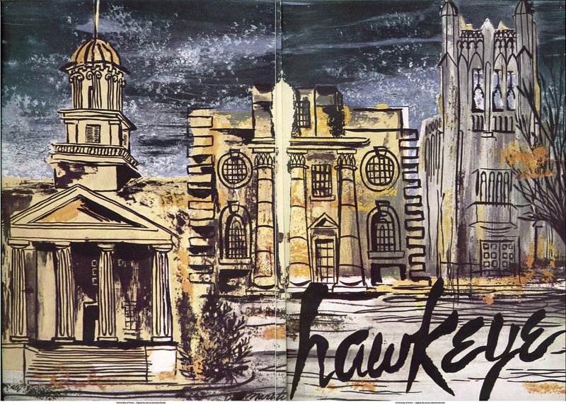 Selection of interior pages from the 1951 State University of Iowa year book depicting an artist's rendition of the University of Iowa campus