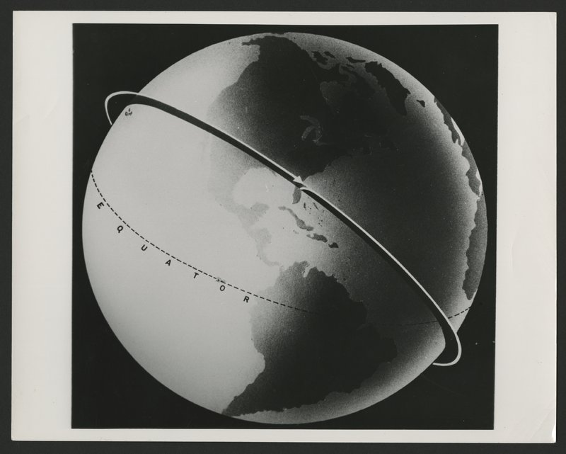 Illustration of Explorer 1's approximate orbital path around the Earth at the orbital velocity of 18,000 miles per hour. The official U.S. Army photograph released by the Department of Defence in 1958