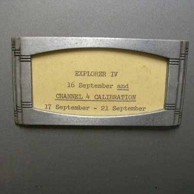 Detail of Explorer 4 data tape lable. Reads 16 September and channel 4 calibration 17 September to 21 September